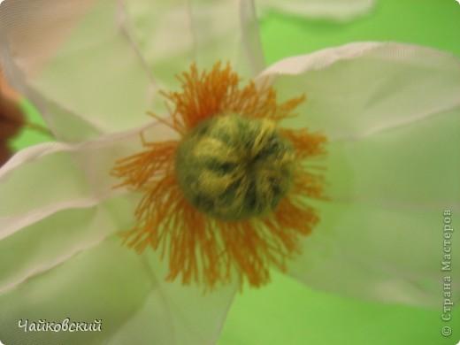 Мастер-класс Моделирование, Валяние (фильцевание), Шитьё: МК белый мак из органзы Ткань. Фото 52