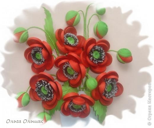 Картина, панно, Мастер-класс Квиллинг: Маки+mini МК. Бумага гофрированная, Бумажные полосы, Проволока, Ткань День рождения. Фото 6