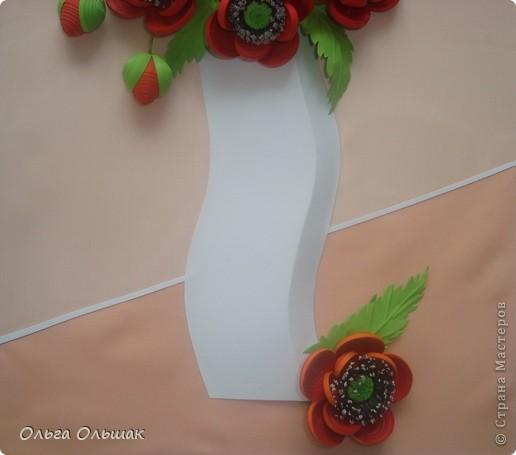 Картина, панно, Мастер-класс Квиллинг: Маки+mini МК. Бумага гофрированная, Бумажные полосы, Проволока, Ткань День рождения. Фото 7