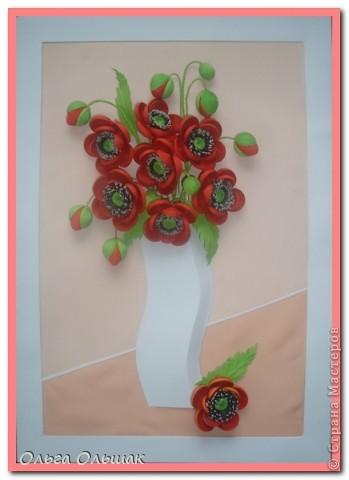 Картина, панно, Мастер-класс Квиллинг: Маки+mini МК. Бумага гофрированная, Бумажные полосы, Проволока, Ткань День рождения. Фото 1