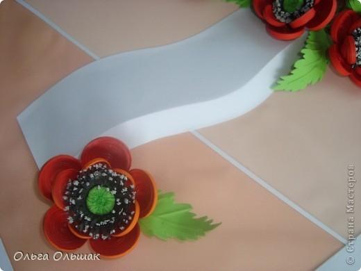 Картина, панно, Мастер-класс Квиллинг: Маки+mini МК. Бумага гофрированная, Бумажные полосы, Проволока, Ткань День рождения. Фото 8