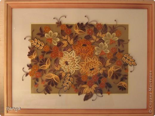 Картина, панно Квиллинг: Жостовский букет Бумага, Бумажные полосы, Картон, Клей. Фото 1