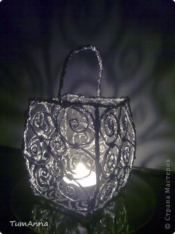Интерьер, Поделка, изделие Плетение: Подсвечник из фольги Фольга. Фото 5