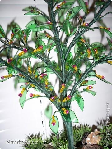 Мастер-класс, Поделка, изделие: Цветущее дерево из пластиковых бутылок Бисер, Бутылки, Нитки, Проволока, Ракушки. Фото 2