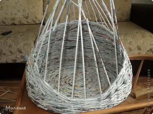 Мастер-класс, Поделка, изделие Плетение: МК. Кошкин дом. Бумага газетная Отдых. Фото 8