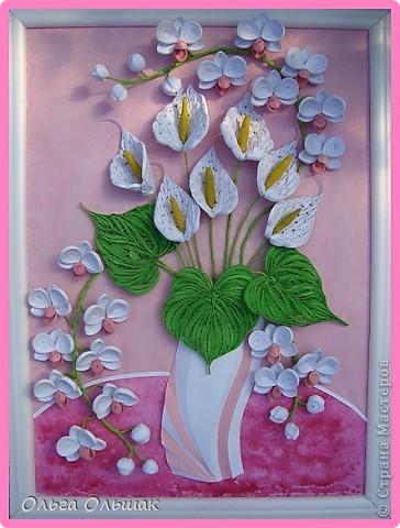 Картина, панно Квиллинг: Дуэт+mini МК. Акварель, Бумага гофрированная, Бумажные полосы, Проволока, Соль День рождения. Фото 1