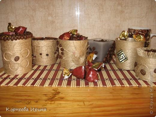 Декор предметов, Мастер-класс Аппликация: Оформляем горшочки для кофейного дерева  Нитки Отдых. Фото 1