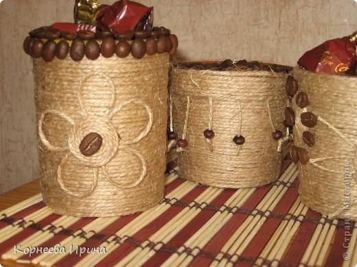 Декор предметов, Мастер-класс Аппликация: Оформляем горшочки для кофейного дерева  Нитки Отдых. Фото 2