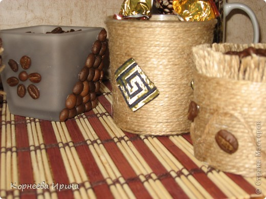 Декор предметов, Мастер-класс Аппликация: Оформляем горшочки для кофейного дерева  Нитки Отдых. Фото 4