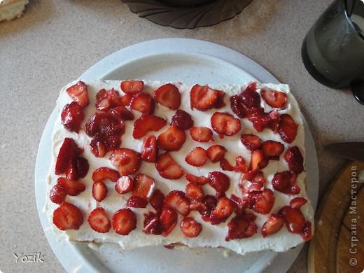 Это мой первый МК, эксперементировала с фото, так что за качество прошу прощения заранее. когда-то я купила сливки для взбивания и для их пробы решила испечь самый простой бисквит, еще у меня остались киви, попробовала со сливками, получилось вкусно. Когда началась клубника, добавила и ее, а однажды, когда делала такой торт у меня оказался творог под рукой, так и родился данный рецепт.. Фото 13