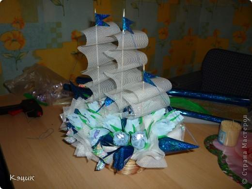 Вот такой корабль получился на день рождения куму. Для работы потребуется: конфеты, упаковочная бумага, гофрированная бумага, клеевой пистолет, пенопласт или флористический кирпич, шпажки и зубочистки, нитки, ну конечно же ножницы, линейка и карандаш, скотч, вроде бы все :). Фото 5
