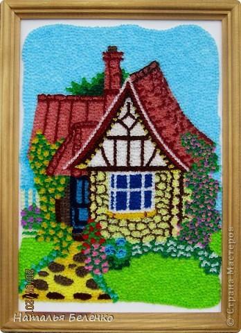 Картина, панно Торцевание: Домик в деревне Бумага гофрированная. Фото 1