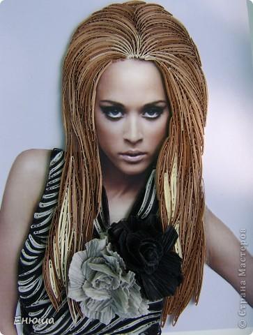 Картина, панно Квиллинг: Блондинка в сером + мини МК Бумага. Фото 1