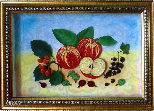 Картина, панно Бумагопластика, Квиллинг: Яблочки медовые (квиллинг) Бумага. Фото 1