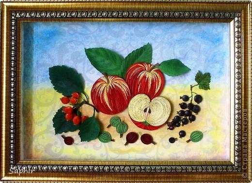 Картина, панно Бумагопластика, Квиллинг: Яблочки медовые (квиллинг) Бумага. Фото 4
