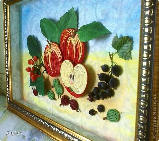 Картина, панно Бумагопластика, Квиллинг: Яблочки медовые (квиллинг) Бумага. Фото 2