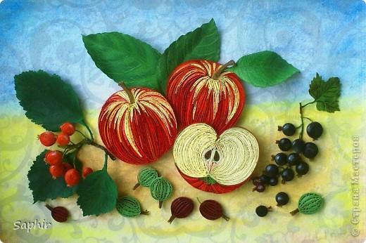 Картина, панно Бумагопластика, Квиллинг: Яблочки медовые (квиллинг) Бумага. Фото 3
