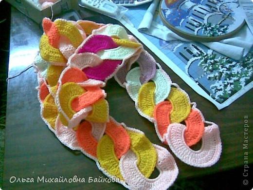 Гардероб, Мастер-класс Вязание крючком: Шарф в подарок Нитки День рождения. Фото 11