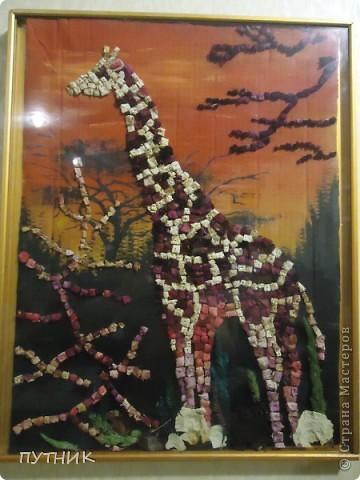 Картина, панно, Мастер-класс Мозаика: Жираф из лепестков роз Материал природный. Фото 1
