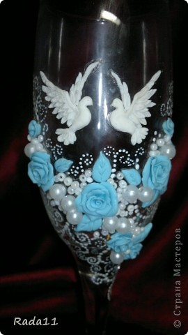 Декор предметов Лепка: Бокалы с голубками Бисер, Бусинки, Пластика Отдых. Фото 4