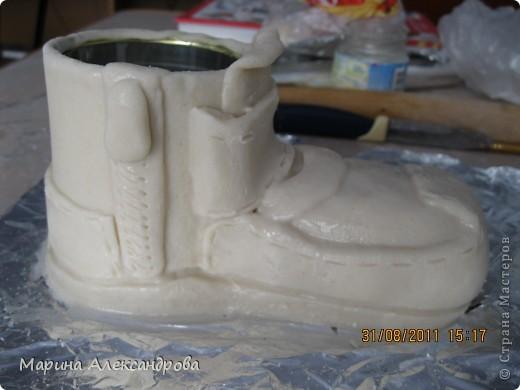 Мастер-класс Лепка: Ботинок...или карандашница?! Тесто соленое. Фото 15