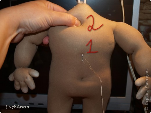 Куклы, Мастер-класс Шитьё:  Утяжки на кукольном теле ( МК). Капрон. Фото 21