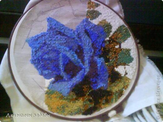 Картина, панно Вышивка: Синяя роза Бисер 8 марта.  Фото 4.