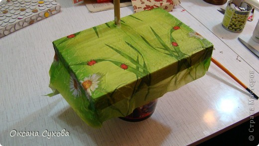 Мастер-класс: МК подставки под текстильную куклу. Бумага, Дерево, Картон, Салфетки. Фото 23