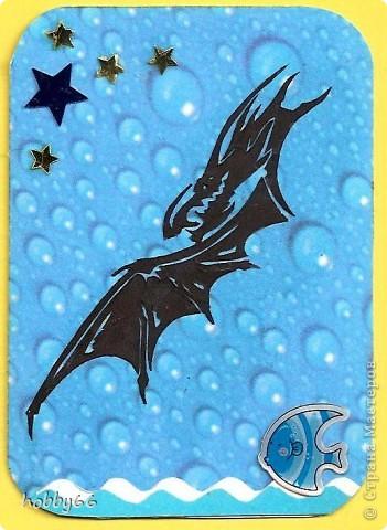 Карточка АТС Аппликация, Вытынанка:  Вас приветствуют черные водяные драконы 2012... Вытынанки. Бумага, Картон Новый год. Фото 2