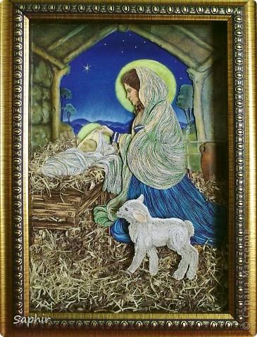 Картина, панно Квиллинг: ТИХАЯ НОЧЬ (квиллинг) Бумага, Бумага бархатная, Бумажные полосы, Клей, Материал природный Рождество. Фото 1