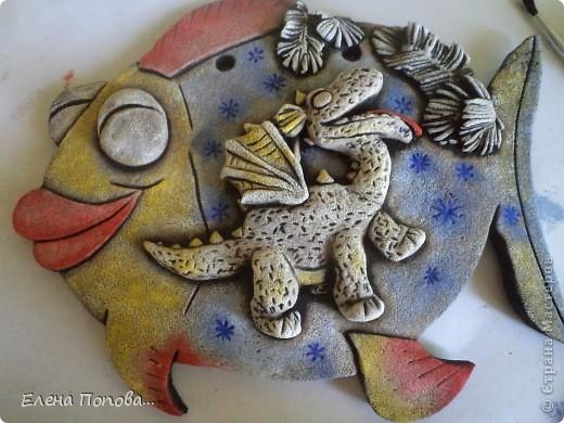 Мастер-класс Лепка, Роспись: Дракоша новогодний. МК покраска. Гуашь, Тесто соленое Новый год. Фото 19