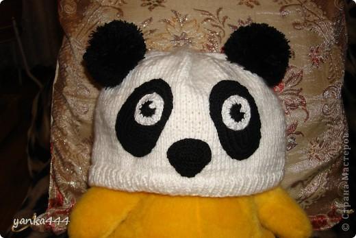 "Гардероб Вязание, Вязание крючком, Вязание спицами: Шапка  ""Панда "" Пряжа."