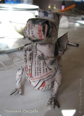 Мастер-класс, Поделка, изделие Папье-маше: Дракон на елку. Папье-маше. МК Бумага газетная, Клей Новый год. Фото 31