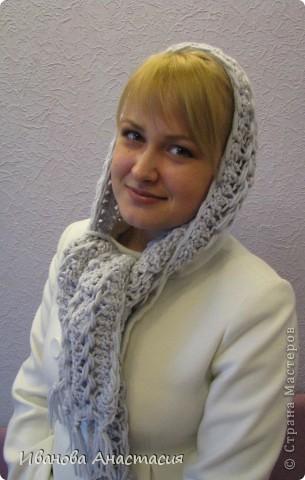 Гардероб Вязание крючком: Капор - шарф с капюшоном Пряжа.  Фото 2.