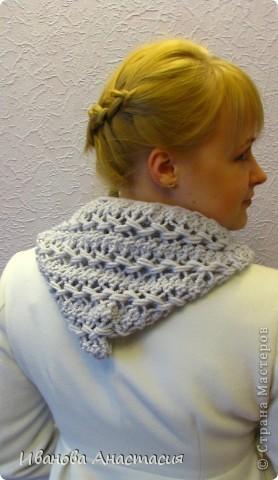 Гардероб Вязание крючком: Капор - шарф с капюшоном Пряжа.  Фото 1.