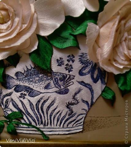 Картина, панно Гильоширование: Выжигание по ткани, Кремово-белые розы Ткань. Фото 2