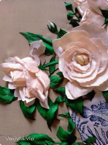 Картина, панно Гильоширование: Выжигание по ткани, Кремово-белые розы Ткань. Фото 3