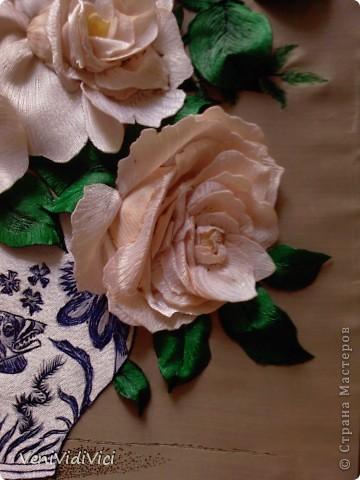 Картина, панно Гильоширование: Выжигание по ткани, Кремово-белые розы Ткань. Фото 4