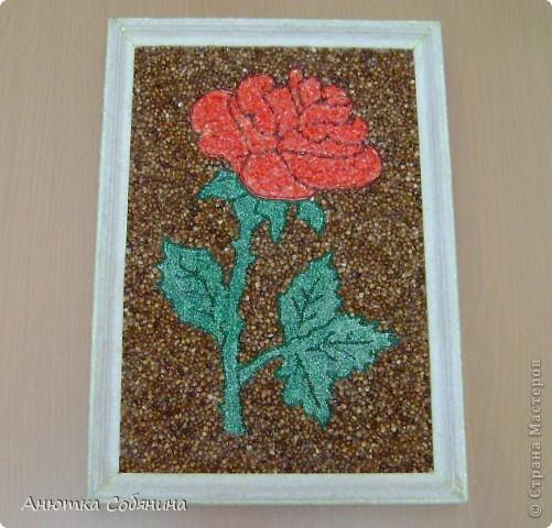 Картина Роза из крупы