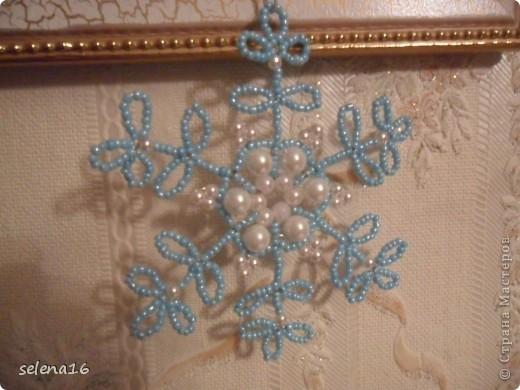 Мастер-класс Бисероплетение: Снежинки  МК Бисер Новый год. Фото 2