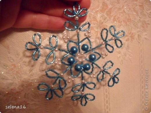 Maestro listones clase: perlas MK copos de nieve del Año Nuevo.  Foto 29