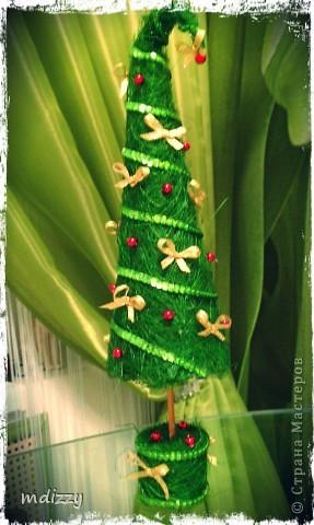 Поделка, изделие Моделирование: Вуа-Ля Ёлочка из сизаля!!! мини МК Бусинки, Гипс Новый год, Рождество. Фото 1