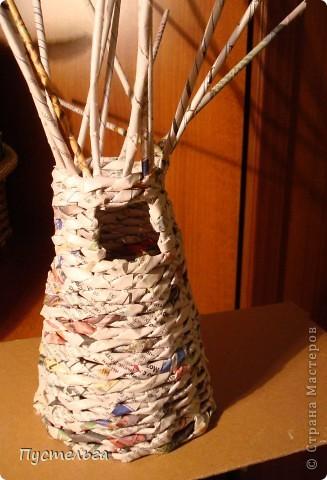 Поделка, изделие Плетение: Дуб  Бумага газетная. Фото 6