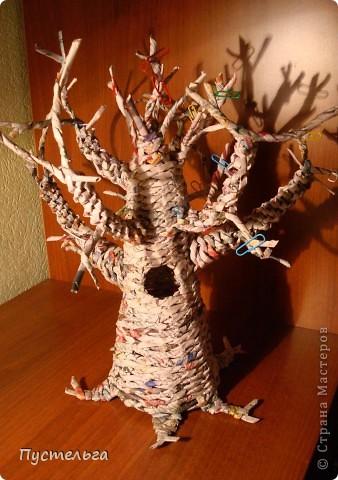 Поделка, изделие Плетение: Дуб  Бумага газетная. Фото 8