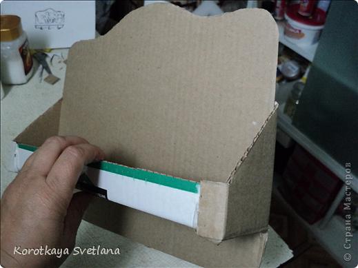Поделка, изделие Декупаж: Полочка с вешалкой из картона Картон, Салфетки Отдых. Фото 3