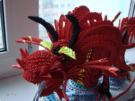 Поделка, изделие Оригами модульное: Дракон. Символ наступающего года! Бумага Новый год. Фото 2