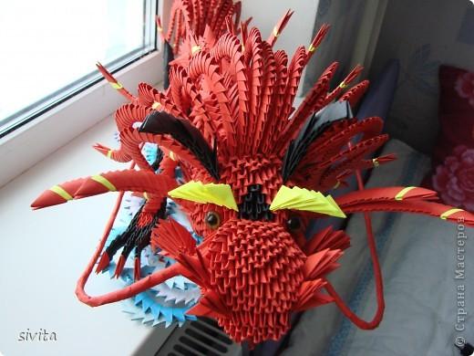 Поделка, изделие Оригами модульное: Дракон. Символ наступающего года! Бумага Новый год. Фото 3