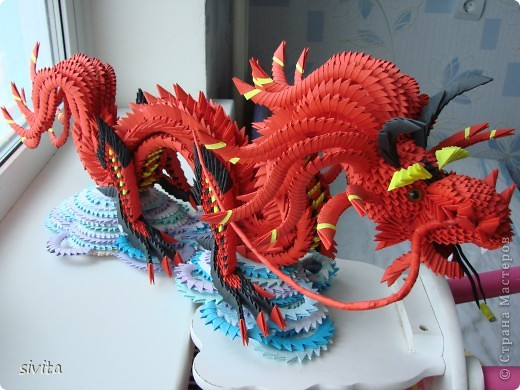 Поделка, изделие Оригами модульное: Дракон. Символ наступающего года! Бумага Новый год. Фото 1