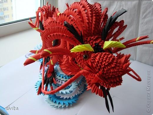 Поделка, изделие Оригами модульное: Дракон. Символ наступающего года! Бумага Новый год. Фото 7