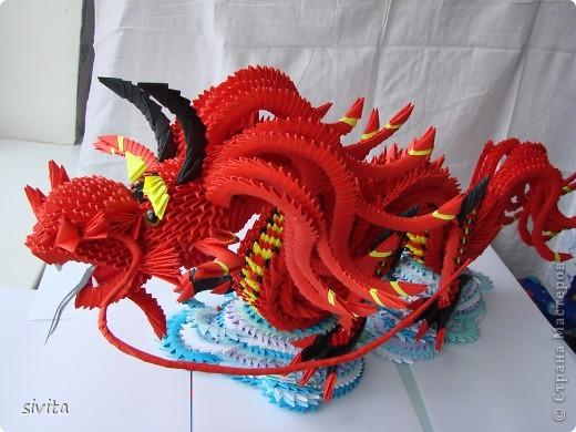 Поделка, изделие Оригами модульное: Дракон. Символ наступающего года! Бумага Новый год. Фото 5